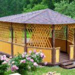 Дачная деревянная садовая беседка БАРБИКЮ. Вместимость 17 человек.