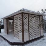 Садовая деревянная прямоугольная беседка Лаванда 3х5 метра. Вместимость 23 человека.